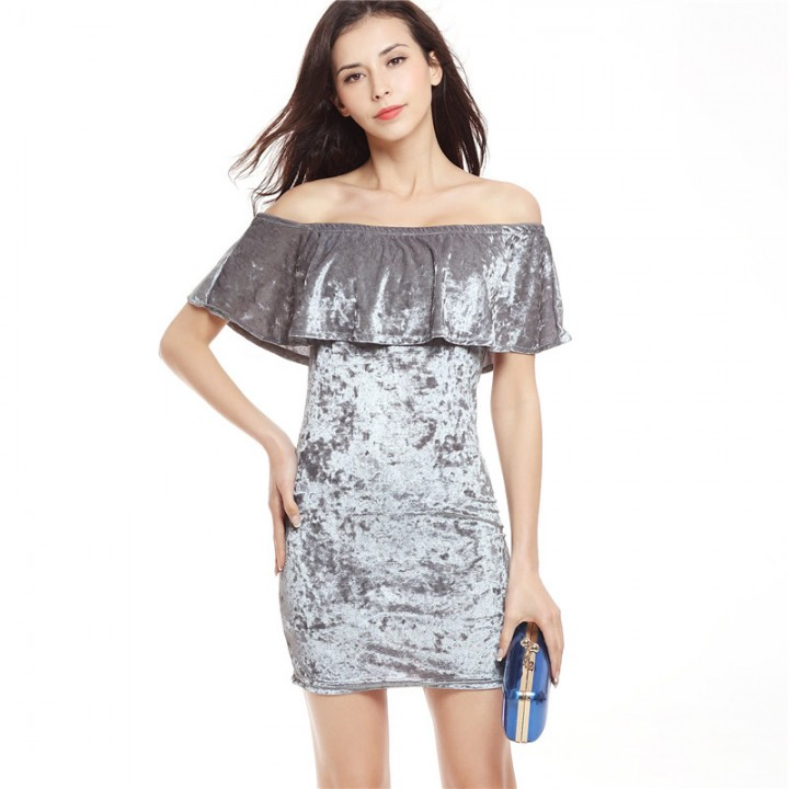 210d1f8d71ed Fashion Ruffle Off The Shoulder Velvet Bodycon Dress Sexy Women Short  Sleeve Club Wear Mini Dress