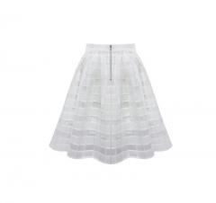 2017 New Summer Women's Pleated Chiffon Skirts Tutu Plaid Gauze Skirt Eugen Yarn Hollow Perspective white s