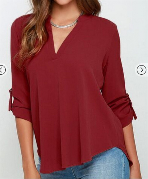 f73514c04223 2017 Sexy Women V Neck Solid Chiffon Blouse Ladies Summer Short Sleeve Slim T  Shirt wine
