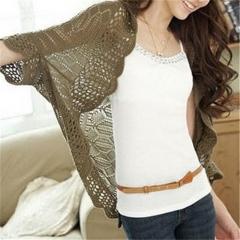 New Arrival Women Fashion Crochet Kimono Hollow Knit Tops Knitwear Coat Outwear Cardigan black one size