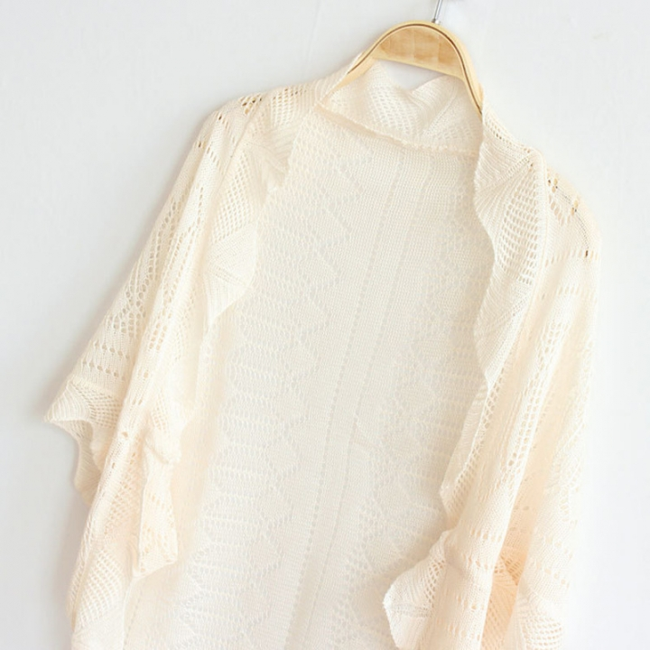 New Arrival Women Fashion Crochet Kimono Hollow Knit Tops Knitwear Coat Outwear Cardigan apricot one size