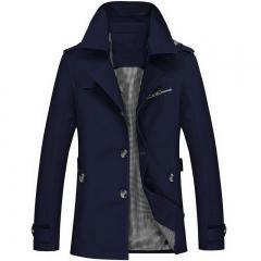 Men's Cotton Washed Jacket Increase Code Medium and Long Man Slim Leisure Time Loose Coat dark blue m