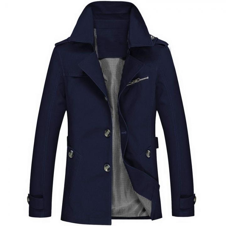Men's Cotton Washed Jacket Increase Code Medium and Long Man Slim Leisure Time Loose Coat dark blue 5xl
