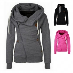 Top Selling Women's Sports Personality Side Zipper Hooded Cardigan Sweater Jacket dark grey s