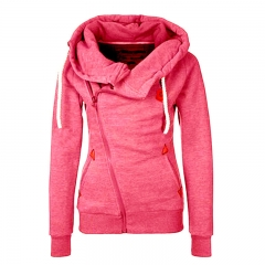 Top Selling Women's Sports Personality Side Zipper Hooded Cardigan Sweater Jacket red xl