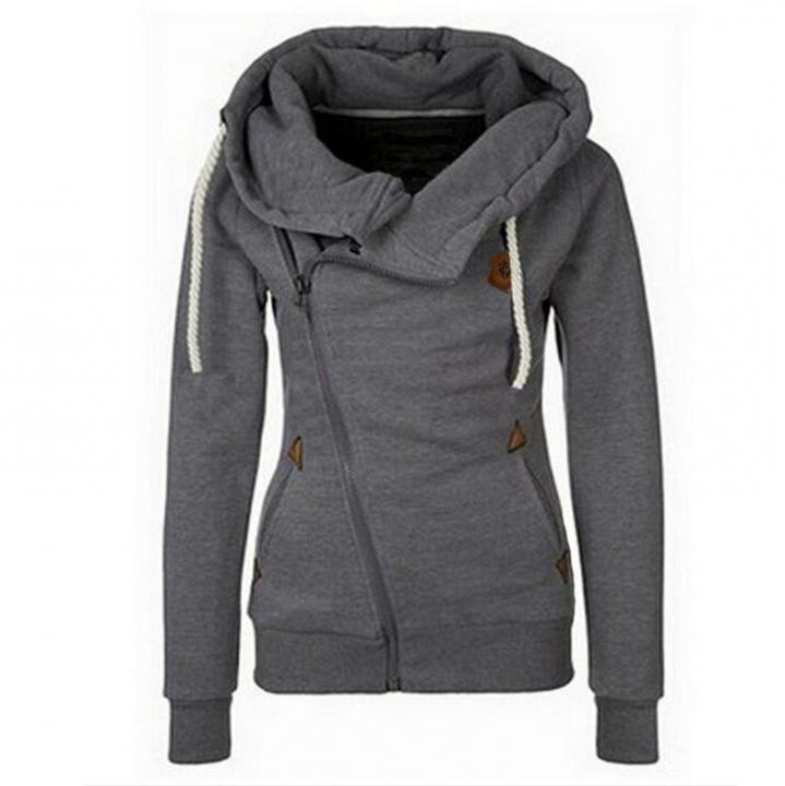 Top Selling Women's Sports Personality Side Zipper Hooded Cardigan Sweater Jacket dark grey s