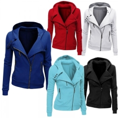 Ladies Hooded Jacket Long Sleeve Women Hoodies Sweatshirts Zipper Blazer Fashion Jacket white xxl