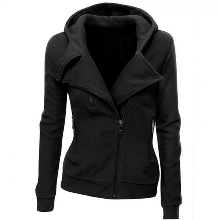 Ladies Hooded Jacket Long Sleeve Women Hoodies Sweatshirts Zipper Blazer Fashion Jacket dark grey s