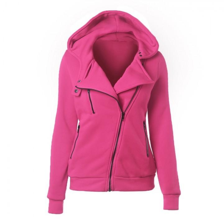 Ladies Hooded Jacket Long Sleeve Women Hoodies Sweatshirts Zipper Blazer Fashion Jacket rose red s
