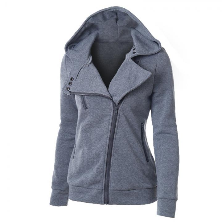 Ladies Hooded Jacket Long Sleeve Women Hoodies Sweatshirts Zipper Blazer Fashion Jacket light grey m