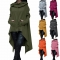 Women's Fashion Coat Long Sleeve Loose Casual Poncho Coat Hooded Pullover Long Hoodies Sweatshirts army green s