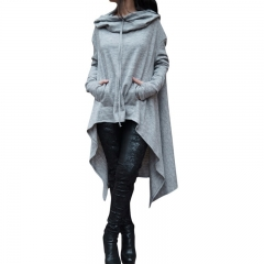 Women's Fashion Coat Long Sleeve Loose Casual Poncho Coat Hooded Pullover Long Hoodies Sweatshirts grey xxl