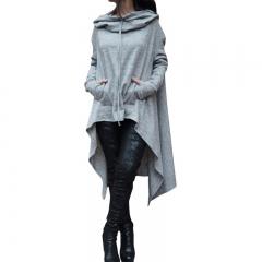Women's Fashion Coat Long Sleeve Loose Casual Poncho Coat Hooded Pullover Long Hoodies Sweatshirts grey xxl
