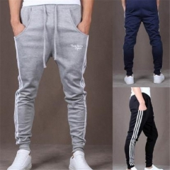 Pop Dynamic Men Casual Sports Skinny Pants Vertical Strip Pants Jogging Slacks grey xl