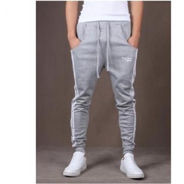 Pop Dynamic Men Casual Sports Skinny Pants Vertical Strip Pants Jogging Slacks grey l