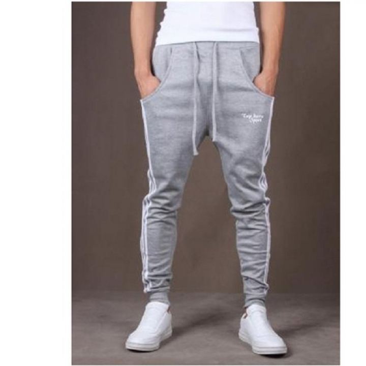 Pop Dynamic Men Casual Sports Skinny Pants Vertical Strip Pants Jogging Slacks grey xl