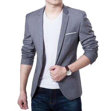 Casual Men Fashion  Business Slim Fit Jacket Suits Masculine Blazer Coat Button Formal Suit Jacket grey m