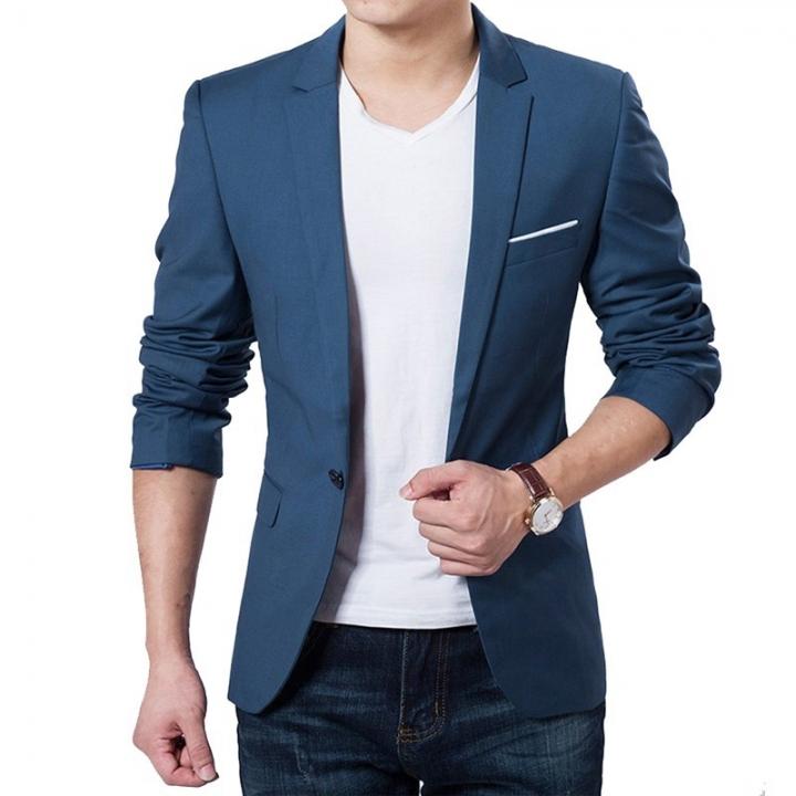 Casual Men Fashion  Business Slim Fit Jacket Suits Masculine Blazer Coat Button Formal Suit Jacket blue l