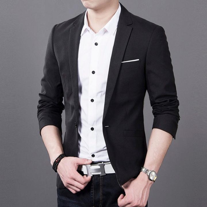 Casual Men Fashion  Business Slim Fit Jacket Suits Masculine Blazer Coat Button Formal Suit Jacket black xl