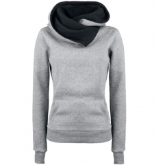 Fashion Personality Lapel Women Hoodies Hooded Pullovers Sweatershirt Solid Warm Fleece Hoodies Coat light grey xl