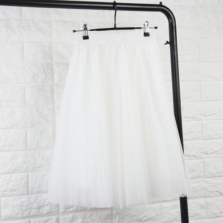 2017 Tulle Skirts Womens Black Gray White Adult Tulle Skirt Elastic High Waist Pleated Midi Skirt white one size