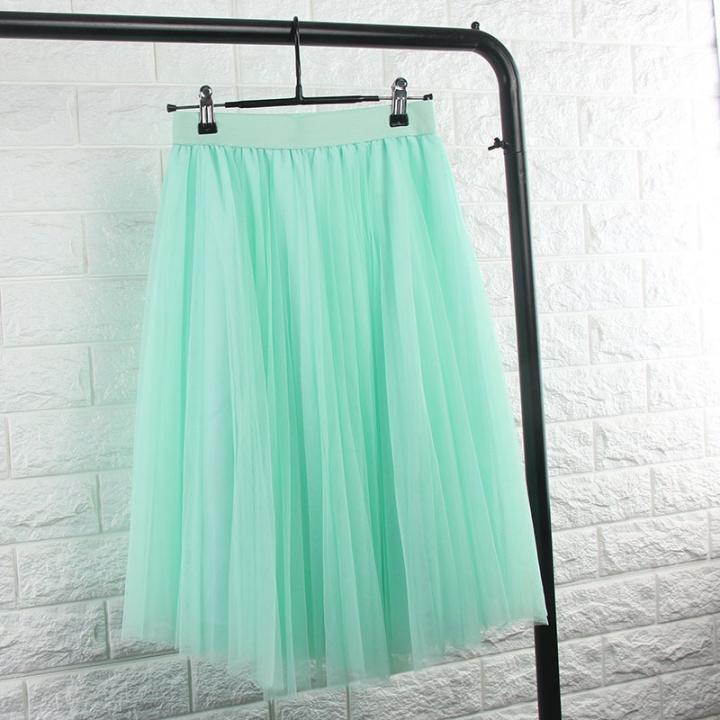 2017 Tulle Skirts Womens Black Gray White Adult Tulle Skirt Elastic High Waist Pleated Midi Skirt mint green one size