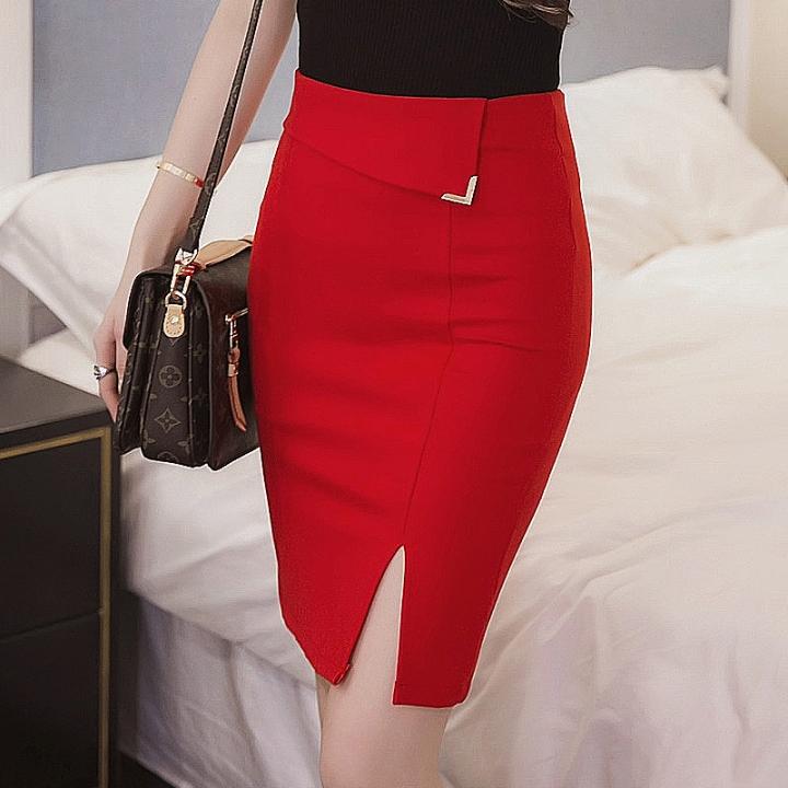 Women Sexy Elastic High Waist Pencil Skirt Step Office Formal Skirt Saias Skirts red m