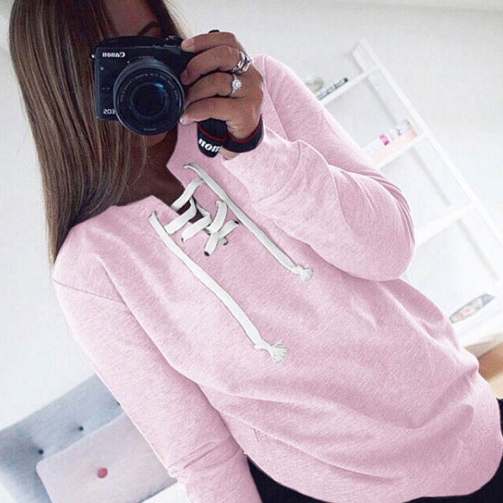Autumn Winter Women Bandage Fleeve Hoodies Lady's Casual Sweatshirt Hoody Sport Pullovers Shirts pink xl