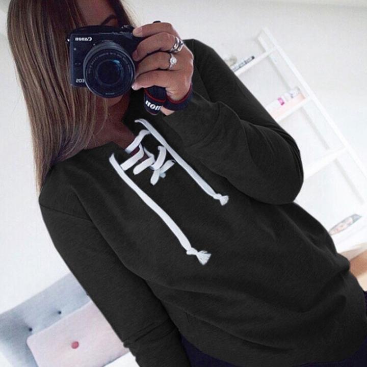 Autumn Winter Women Bandage Fleeve Hoodies Lady's Casual Sweatshirt Hoody Sport Pullovers Shirts black xl