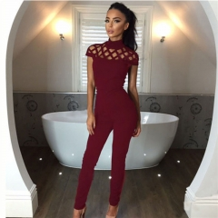 Womens Choker High Neck Caged Sleeve Playsuit Long Rompers Summer Jumpsuits Office Lady bodysuits wine red s