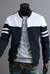 2017 Spring Autumn Casual Men's Zipper Jacket Silm Coat Fashion Hoodies Sportswear navy blue&white xl