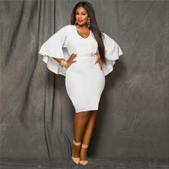 Autumn 2017 Fashion Sexy V-Neck Women Long Sleeve Party Elegance Trumpet Sleeve Dress white l