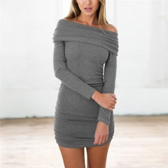 Sexy Women Autumn Slash Neck Strapless Gray Dress Winter Long Sleeve Bandage Slim Party Dress gray s