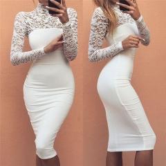 Turtleneck Long Sleeve Lace Midi Sexy Club Bandage Bodycon Dress 2017 Autumn Women Elegant Dress white s