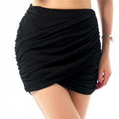 2017 Summer Sexy Women Night Club Solid Color Pleated Skirt High Waist Female Package Hip Skirt black s