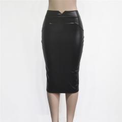 Women Sexy PU Leather Pencil Bodycon Skirt Elegant Knee Length Package Hip Sheath Skirts black s