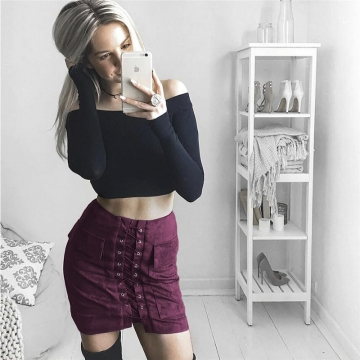 New 2017 Summer Women's Fast Sell Through The Burst Pocket Suede Straps Hip Short Skirt wine red s