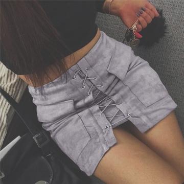 New 2017 Summer Women's Fast Sell Through The Burst Pocket Suede Straps Hip Short Skirt gray s