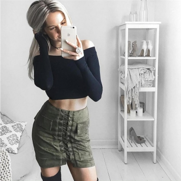 New 2017 Summer Women's Fast Sell Through The Burst Pocket Suede Straps Hip Short Skirt army green m
