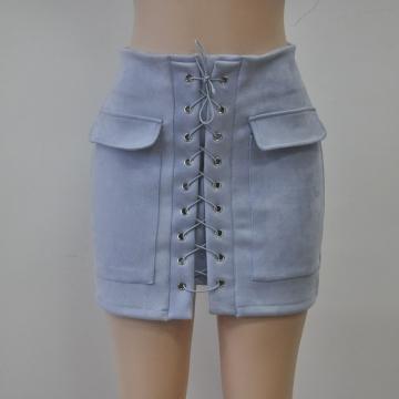 New 2017 Summer Women's Fast Sell Through The Burst Pocket Suede Straps Hip Short Skirt light blue l