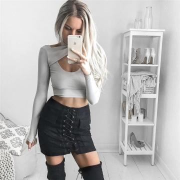 New 2017 Summer Women's Fast Sell Through The Burst Pocket Suede Straps Hip Short Skirt black l