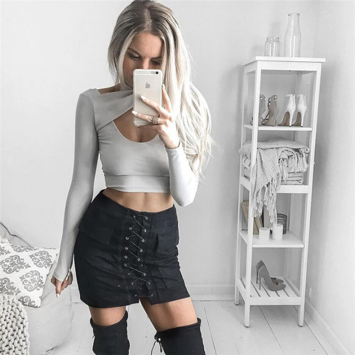 New 2017 Summer Women's Fast Sell Through The Burst Pocket Suede Straps Hip Short Skirt black m