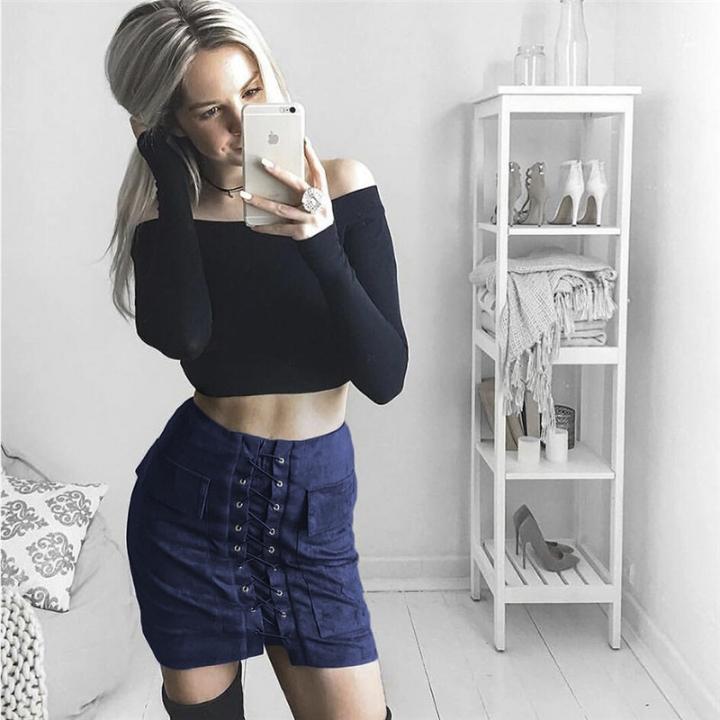 New 2017 Summer Women's Fast Sell Through The Burst Pocket Suede Straps Hip Short Skirt dark blue s