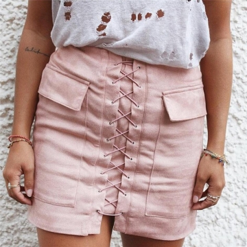 New 2017 Summer Women's Fast Sell Through The Burst Pocket Suede Straps Hip Short Skirt pink s