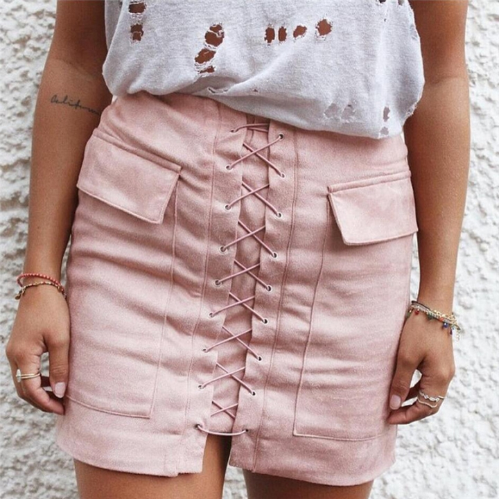 New 2017 Summer Women's Fast Sell Through The Burst Pocket Suede Straps Hip Short Skirt pink m