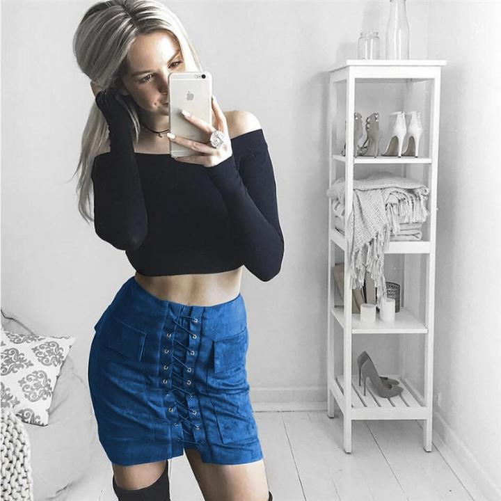 New 2017 Summer Women's Fast Sell Through The Burst Pocket Suede Straps Hip Short Skirt bright blue m