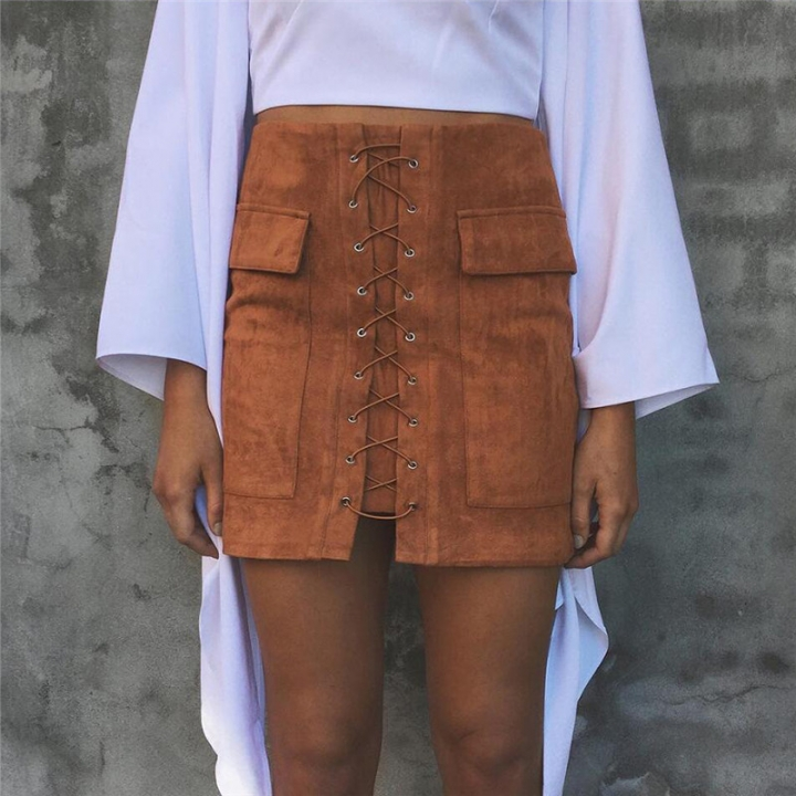 New 2017 Summer Women's Fast Sell Through The Burst Pocket Suede Straps Hip Short Skirt brown m