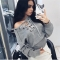2017 women autumn deep V sexy Strapless sweaters chest bandage flat knitted loose pullovers gray one size