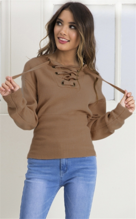2017 women autumn deep V sexy Strapless sweaters chest bandage flat knitted loose pullovers coffee one size