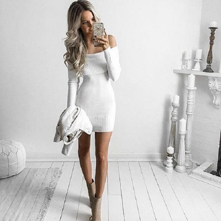 2017 New Fashion Autumn Winter Women Dress Series Strapless Sexy Word Collar Sweater Dress white one size